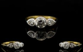 18ct Gold - Nice Quality 3 Stone Diamond Set Ring, Pleasing Pave Set Diamond Ring. The Central