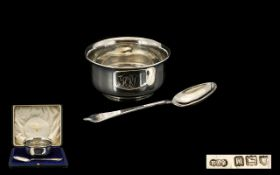 George V - Early 20th Century Silver Christening Bowl and Spoon. Hallmark London 1915, Maker R & S.