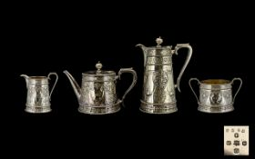 Martin Hall & Co Mid Victorian Period Superb Quality Silver Plated ( 4 ) Piece Tea Service with