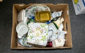 A Mixed Box Of Miscellaneous Ceramics And Collectibles To include ornamental figures, glass items,