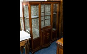 A Late 19th/Early 20th Century Glazed Display Cabinet Edwardian cabinet with central, glazed bow