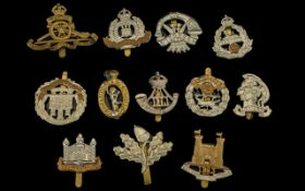 Collection Of 12 Military Cap Badges To Include Suffolk Hussars, Cornwall, Northamptonshire,