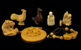 Mixed Lot Of Oriental Items, To Include Boxwood Netsukes, Bead Bracelet,