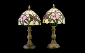 A Pair Of Reproduction Tiffany Style Table Lamps Of small proportion,