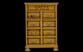 A Handmade Wooden Spices Cabinet with ( 8 ) Eight Drawers.