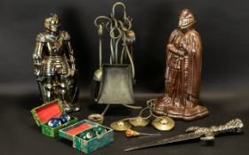 Box of Assorted Fireplace & Decorative Items includes a fireplace companion set, two large fireplace