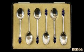 Art Nouveau Style Set of Six Blue Enamel and Silver Teaspoons In Original Box.