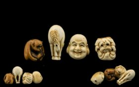 A Fine Collection of Japanese 19th Century Carved Ivory and Boxwood Ojime Beads. ( 4 ) In Total. c.
