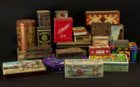 A Collection of Assorted Vintage Tins including OXO, Cadbury's,