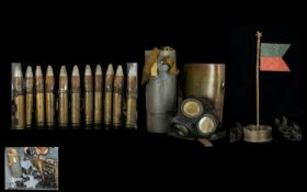 BULLET BANDOLIER, Trench art flag with ash tray, gas masks etc, please see accompanying image.