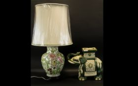 A Contemporary Oriental Ceramic Table Lamp Of baluster form,