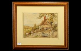 Circle of Myles Birkett Foster Watercolour, A Girl Opening a Gate Leading to a Farm Cottage and