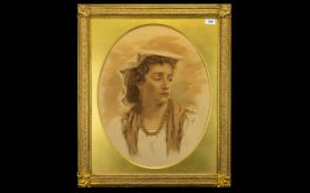 A 19th Century Framed Sepia Tone Portrait Print Depicting a continental maiden with headscarf and