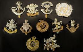 Collection Of 12 Military Cap Badges To Include The Kings, The Welch, Royal Engineers, Kent,