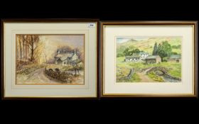 Two Framed Watercolours by Local Artists J Ogden 1992 and Margaret Peacock.
