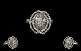 A Stunning and Contemporary 18ct White Gold Diamond Set Dress Ring, Wonderful Design and Quality.