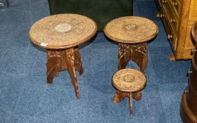 Three Carved Anglo Indian Occasional Tables Each with circular tops, inlaid with floral abalone