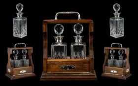 Elizabeth II Superb Sterling Silver Mounted Mahogany Tantalus Inset with a Pair of Silver Collared