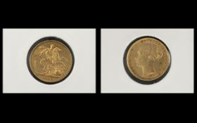 Queen Victoria 22ct Gold Young Head Full Sovereign - Date 1886. Sydney Mint, G - V.F. Condition.