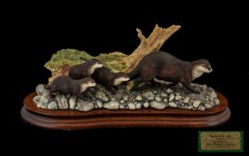 Border Fine Arts Handmade Animal Figure Group 'Keeping Up' Otters Family Group. Registration No.