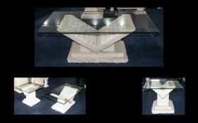 Modern Marble Effect Pair of Occasional Tables comprising of one square table,
