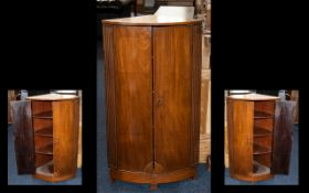 Mid 20th Century Mahogany Corner Unit - with two doors, three internal shelves and reeded panel