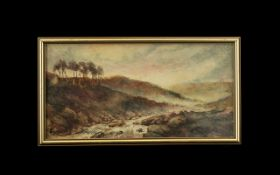George Clarkson ( Stanfield ) 1828 - 1878 Welsh Landscape with Hills / River Watercolour. Signed.