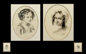 Two Mid 19th Century Portrait Head Studios of Young Girls - Pen and Ink on Paper,