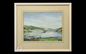 C.C.Smith British Artist - Titled ' Loch Duich ' Invershiel Watercolour. Signed and Dated 1983,