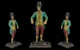Reproduction Cast Metal Painted Figure In The Form Of A Georgian Gentleman Standing figure on square
