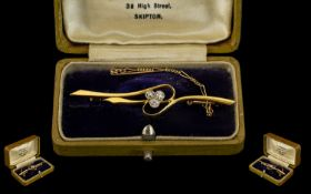 Antique Period 18ct Gold Diamond Set Brooch with 18ct Gold Safety Chain. Marked 18ct Gold. The Three