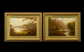 William Everret Mellor 1878 - 1965 Fine Pair of Oils on Board - TItles ' A Peep of the Wharfe '