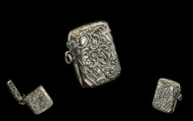 German 19th Century Superb Quality Hinged Silver Vesta Case with Embossed Decoration In Nr/ Mint