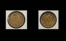 Edward VII 22ct Gold Full Sovereign, London Mint & Date 1907. Good Grade, Please Confirm with Photo.