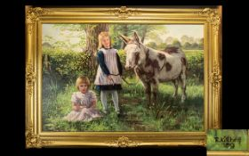 R. Kitchen Untitled Oil On Canvas Depicting two female children with donkey. Signed and dated 80