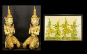 Two Large Decorative Traditional Thai Figures in kneeling position, heavily decorated in gold.