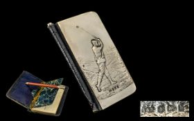 Edwardian Period Nice Quality Silver and Leather Golfers Book of Score Cards, Never Used,