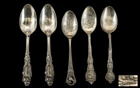 Collection Of Five American Silver Spoons, Three Souvenir Spoons Marked For Cocoa Trinidad, Boston
