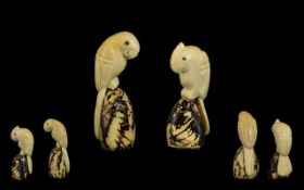 A Novelty Pair of Early 20th Century Carved Ivory Bone Bird Figures of Small Proportions. Sick