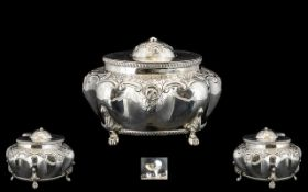 English Late 19th Century Superb Quality Sterling Silver Lidded Tea Caddy of Wonderful Proportions