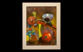 Oil Painting by Hadrian Richards 'Still Life With Violin' dated 2017.