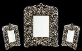 Edwardian Style Impressive Sterling Silver Framed Table Mirror,