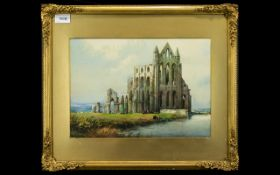 Noel Harry Leaver 1889 - 1951 Born In Austwick Settle 1889 ' Study of Whitby Abbey ' Ruins with