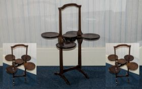 "Edwardian Nice Quality Six Tier Folding & Extending Oak Dumb Waiter/Cake Stand. Height 27"" - 67."