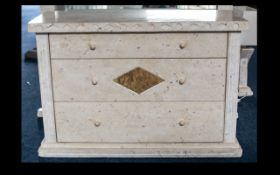 Modern Cream Marble Effect Chest of Drawers classically attractive dappled marble-effect finish