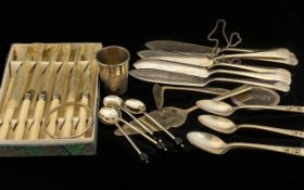 A Small Collection of Silver and Silver Plated items including 6 Ronella Sheffield hand-ground S/S