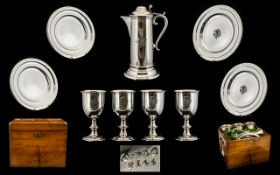 Victorian Period Fine Silver Plated Church Communion Set, Comprising of a Large Claret Flagon Jug