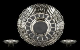 Early 20th Century - Attractive Sterling Silver Fruit Bowl with Embossed Fruit and Floral Decoration