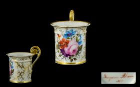 French Empire - Superb Quality Hand Painted Porcelain Cup to Celebrate the Birth of a Child with