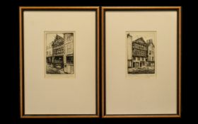 Chester Interest - A Pair of Pencil Signed Etchings By Ray Allen both framed and mounted behind